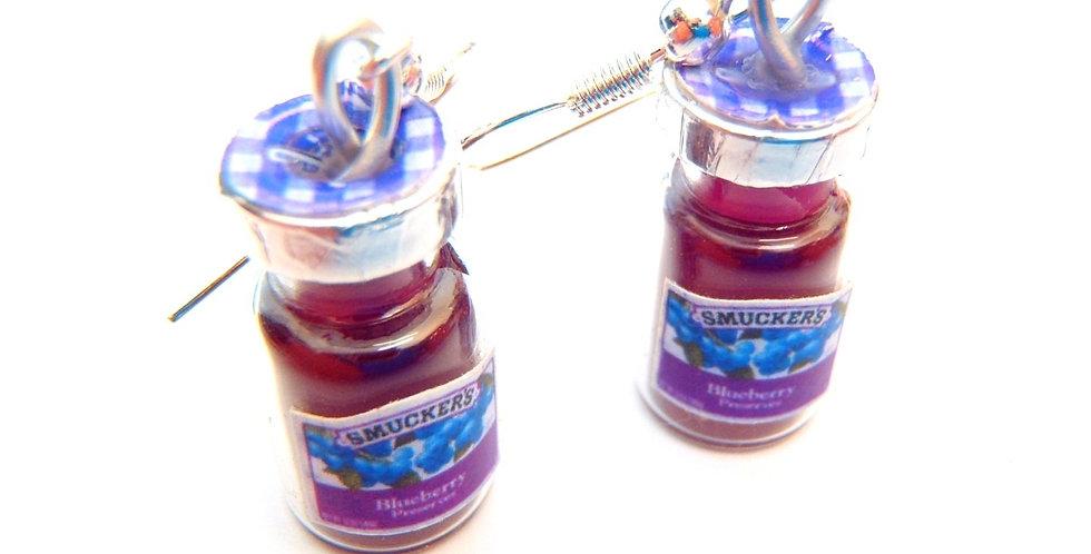 Boucles d'oreilles POTS DE CONFITURE, miniatures, myrtilles