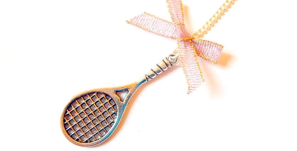 Sautoir BELLE DE MATCH, sautoir raquette de tennis miniature