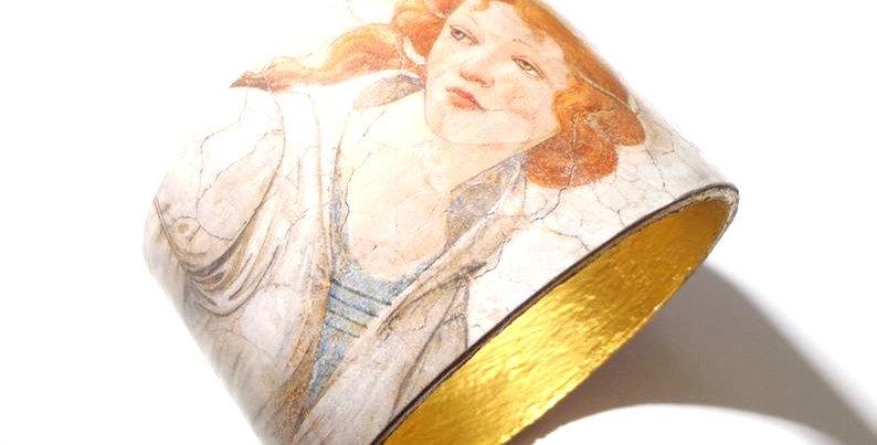 Bracelet manchette VÉNUS et les trois grâces, de Botticelli, pastel