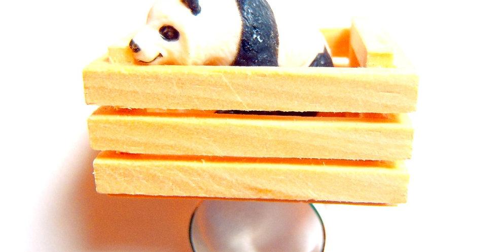 Bague J'AI CAPTURÉ UN PANDA, cagette miniature mini panda