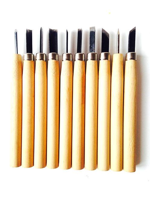 Gouges pour Linogravure, lot de 10. Produit d'occasion, comme neuf