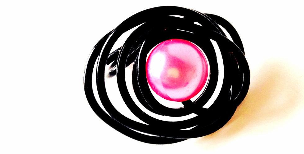 Bague LA PLANÈTE ROSE, fil métallique, perle rose