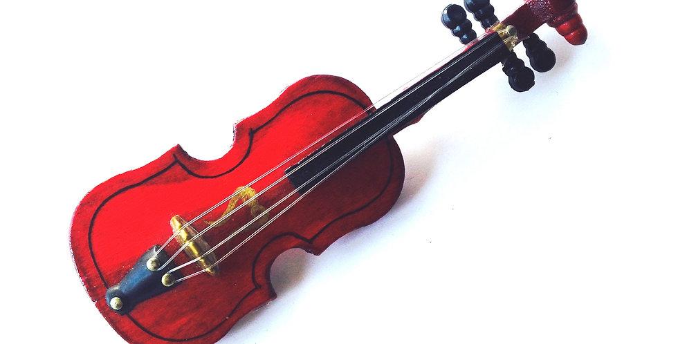 Broche maxi STRADIVARIUS, violon miniature en bois bijou musique par The Sausage