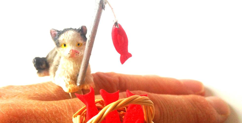 Bague double BONNE PÊCHE, petit chat et panier de poissons