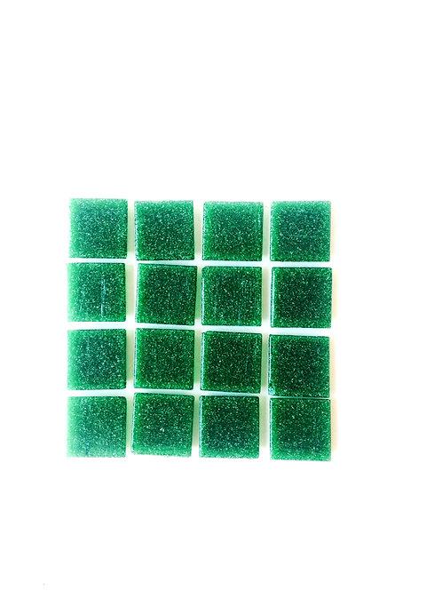 Tesselles de Mosaïque pâte de verre 2 x 2 cm vertes, 50 grs
