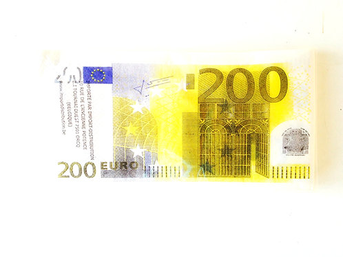 Serviettes billets de banque, 200 euros, paquet de 10 rectangulaires