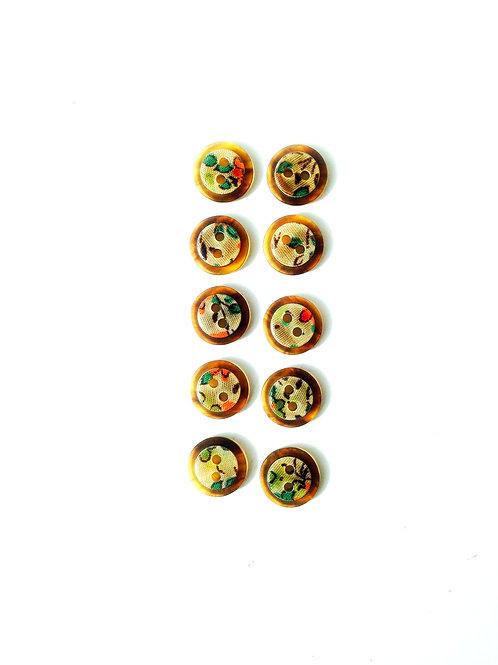 Boutons - Petits boutons adorables avec motifs, tour translucide marron