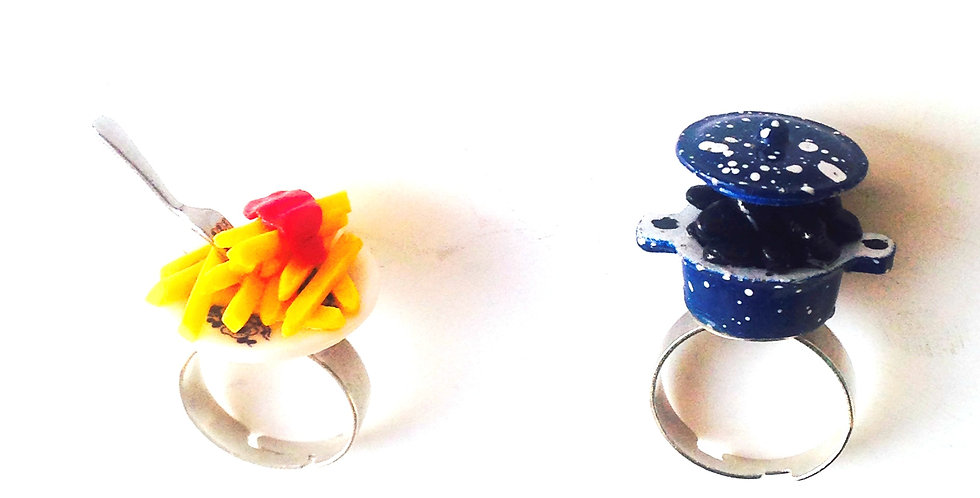 Alliances fantaisie, mariage : Bague Moules et Bague Frites, miniatures