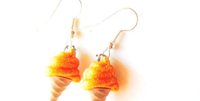 Boucles d'oreilles Les Glacettes-- ORANGE boutons en résine, paillettes