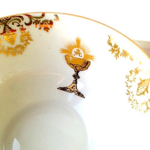 Tasse de communiant(e), coffret cadeau ancien tasse + soucoupe + cuiller