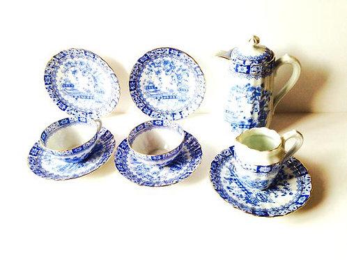 Service à thé bleu et blanc porcelaine fine de bavière, mini théière