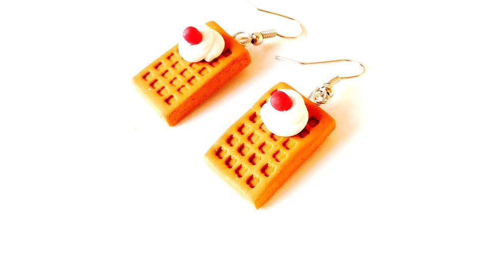 Boucles d'oreilles LES P'TITES GAUFRES, miniatures en pâte polymère
