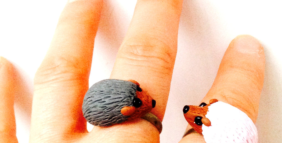 Bague double M. et Mme Hérisson / Double ring Mr & Mrs Hedgehog