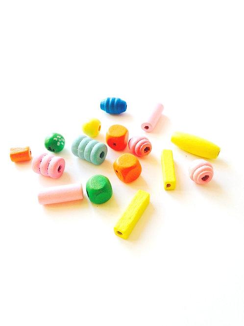 Lot de perles pastel en bois multicolores