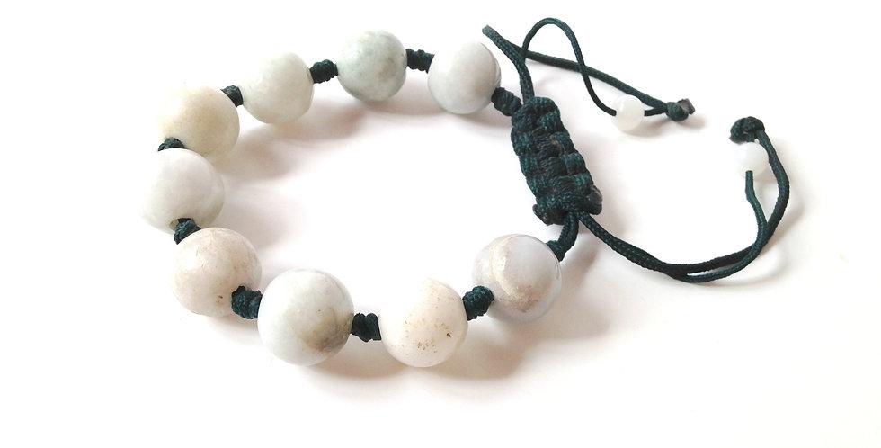 Bracelet GALETS DE JADE, perles de jade, ajustable