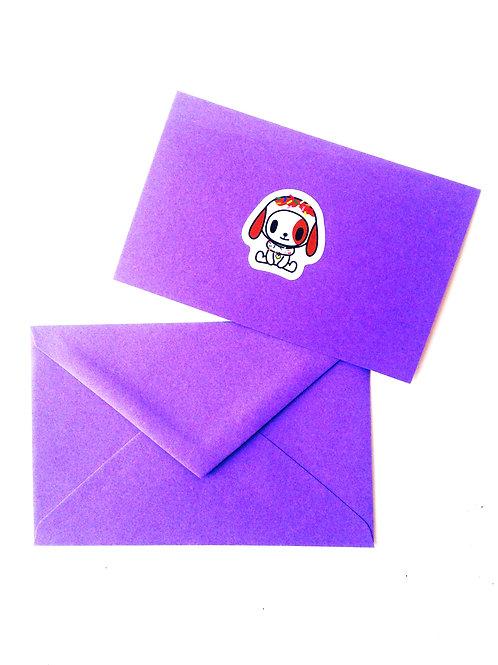 Carte papier mauve sticker PETIT CHIOT, enveloppe assortie pas de message