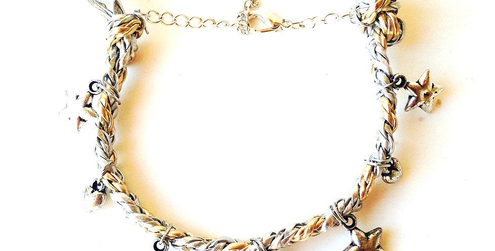 Bracelet SUN AND MOON, simili cuir argent et or, charms