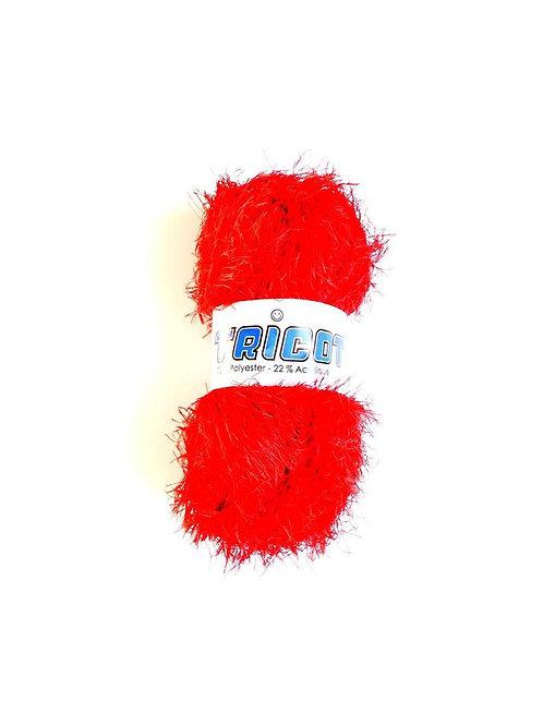 1 pelote de laine fantaisie FOUFOU tricot mélangée, rouge, Polyester / Acrylique