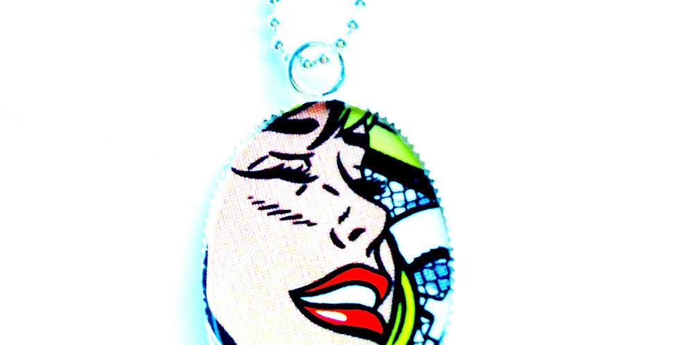 Sautoir POP GIRL, ovale pop art