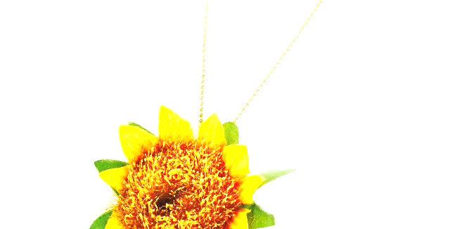 Sautoir SOLEIL, fleur synthétique, jaune