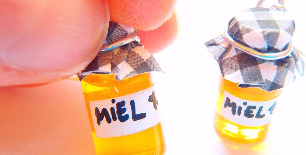 Boucles d'oreilles HONEYBEE, mini pots de miel
