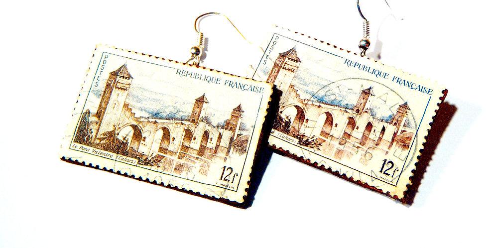 Boucles d'oreilles CAHORS, timbres vintage