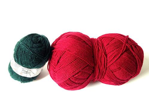 Pelote de laine géante, couleur bordeaux, fine, équivalente à 3 ou 4 pelote
