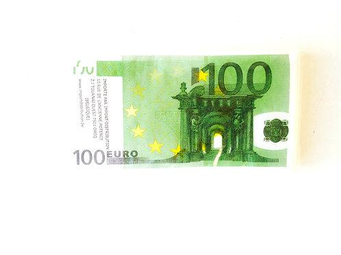 Serviettes billets de banque, 100 euros, paquet de 10 rectangulaires