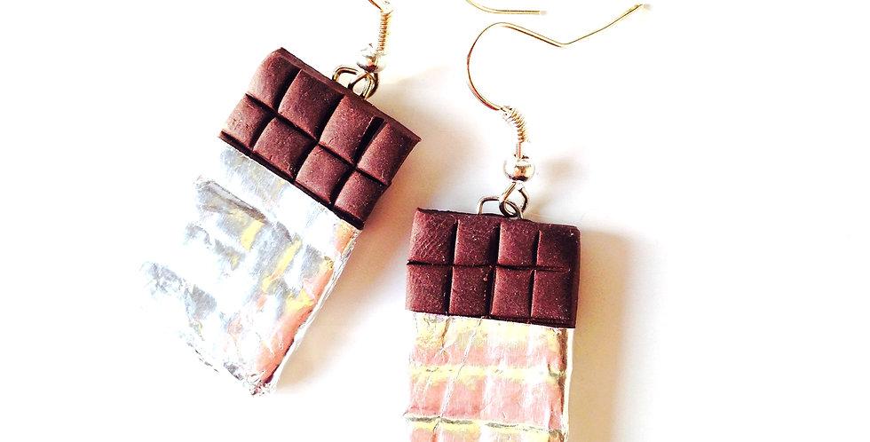 Boucles d'oreilles J'AIME ÇA, plaques de chocolat miniatures