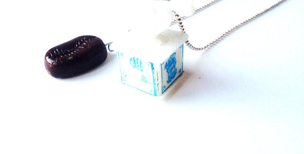Sautoir LE MINI MOULIN, moulin à café miniature, grain de café