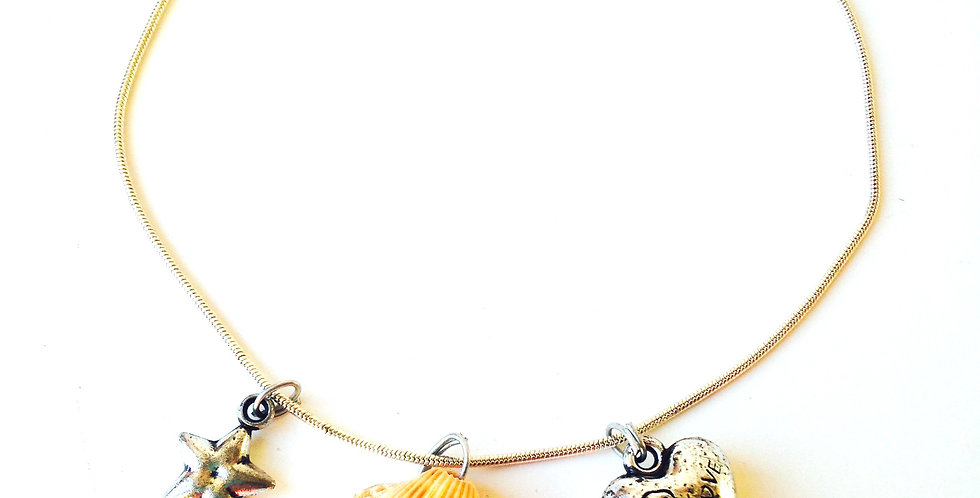 Bracele de cheville BEACHETTE, coquillage véritable et charms
