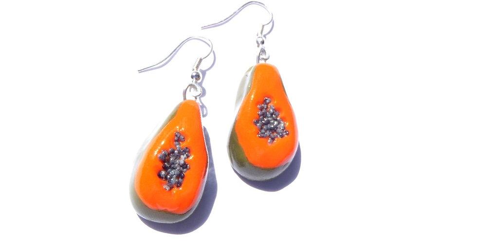 Boucles d'oreilles LES PÉPÉES À PAPAYES, papayes miniatures