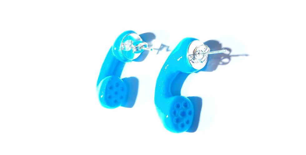 Puces TÉLÉPHONE, ALLO ? bleues turquoise