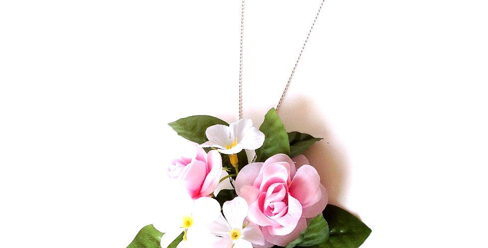 Sautoir FRESH, fleurs synthétiques roses et blanches