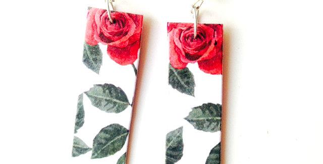 Boucles LES ROSES, carton, motif feuilles et fleurs
