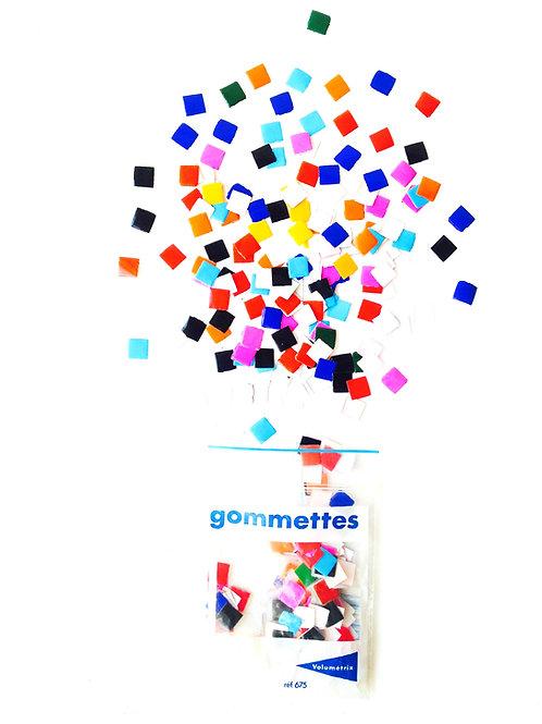 Gommettes -- Produit d'occasion. Petits carrés de papier de couleur, colorés