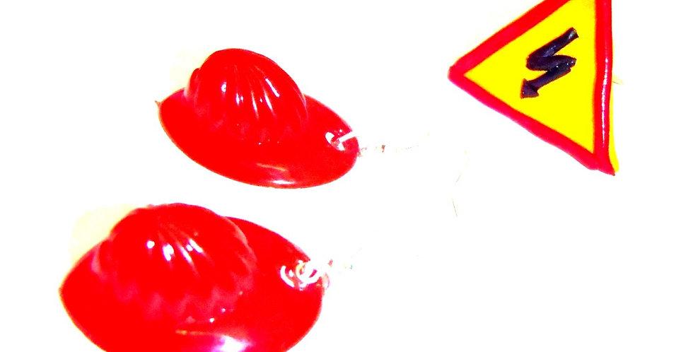 Parure PANOPLIE, casques de pompiers, et bague panneau danger