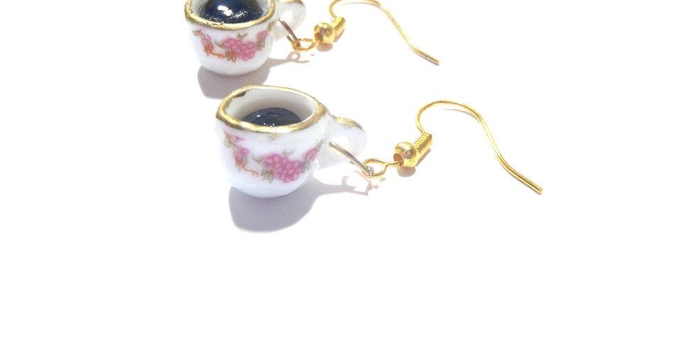 Boucles EL CAFECITO, tasses miniatures, crochet doré