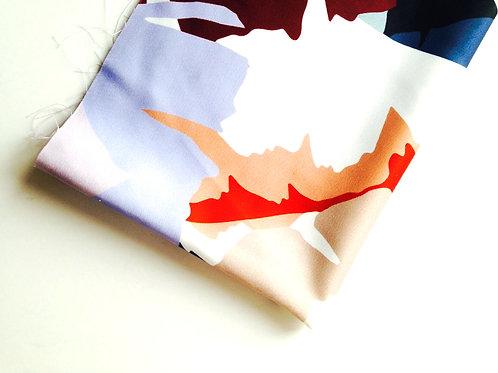 Tissu - coton satiné imprimé tropical grandes feuilles multicolore camou