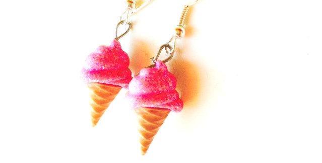 Boucles d'oreilles Les Glacettes-- FRAMBOISE boutons en résine, paillettes