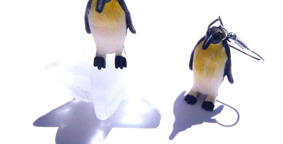 Boucles d'oreilles 2 PINGOUINS SUR LA BANQUISE, miniatures