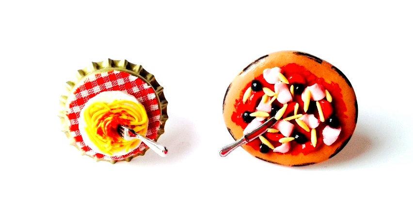 Alliances fantaisie, mariage : Bagues PIZZA & PASTA, miniatures, The Sausage