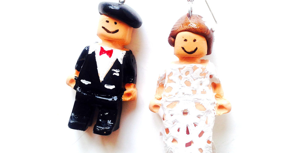 Boucles d'oreilles LES P'TITS MARIÉS, mariage, couple