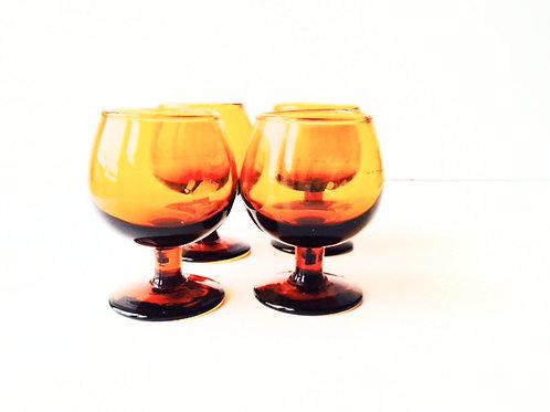 Verres à liqueur en verre ambré, petite tailles lot de 4 x