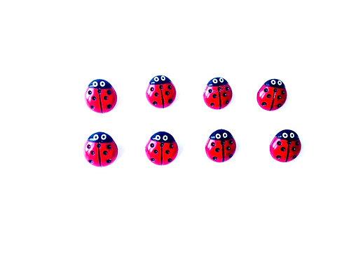 Boutons, lots de 8 petits boutons coccinelle, neufs, crochet au dos