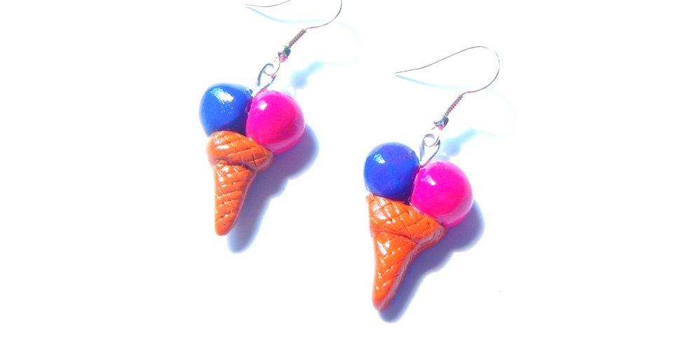 Boucles d'oreilles GLACES, framboise cassis, miniature