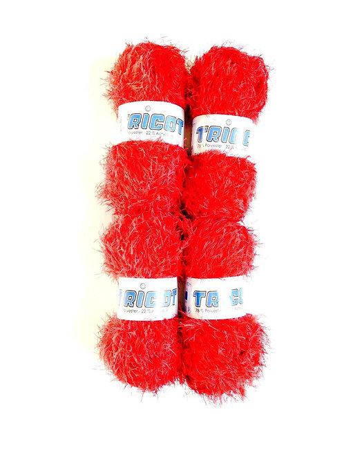 Lot de 4 pelotes de laine fantaisie FOUFOU tricot mélangée, rouge