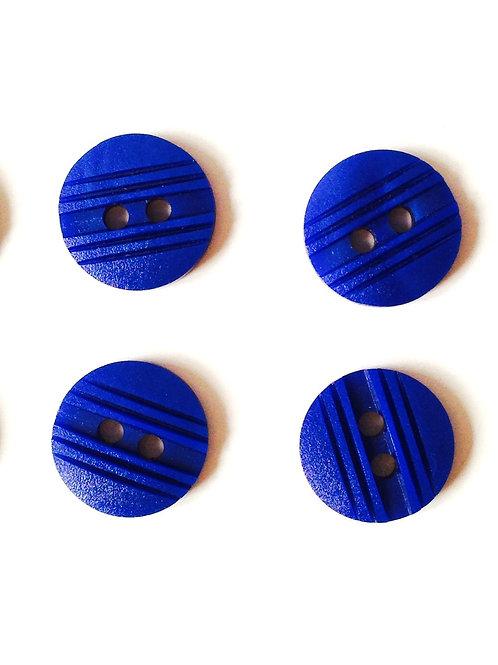 Boutons - Lot de 4 petits boutons bleu klein, avec rainures, 1 cm