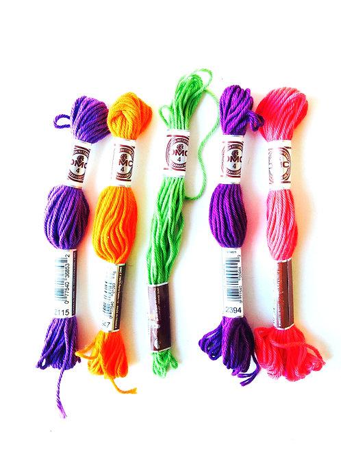 Cotons DMC, assortiment 5 cotons couleurs vives pour bracelets brésiliens, récup