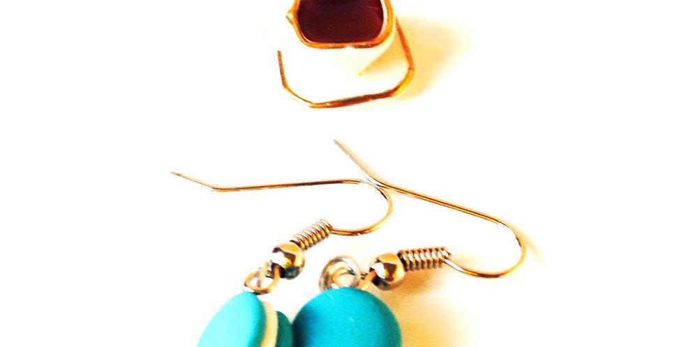 Boucles d'oreilles Macarons, bleus, pâte polymère